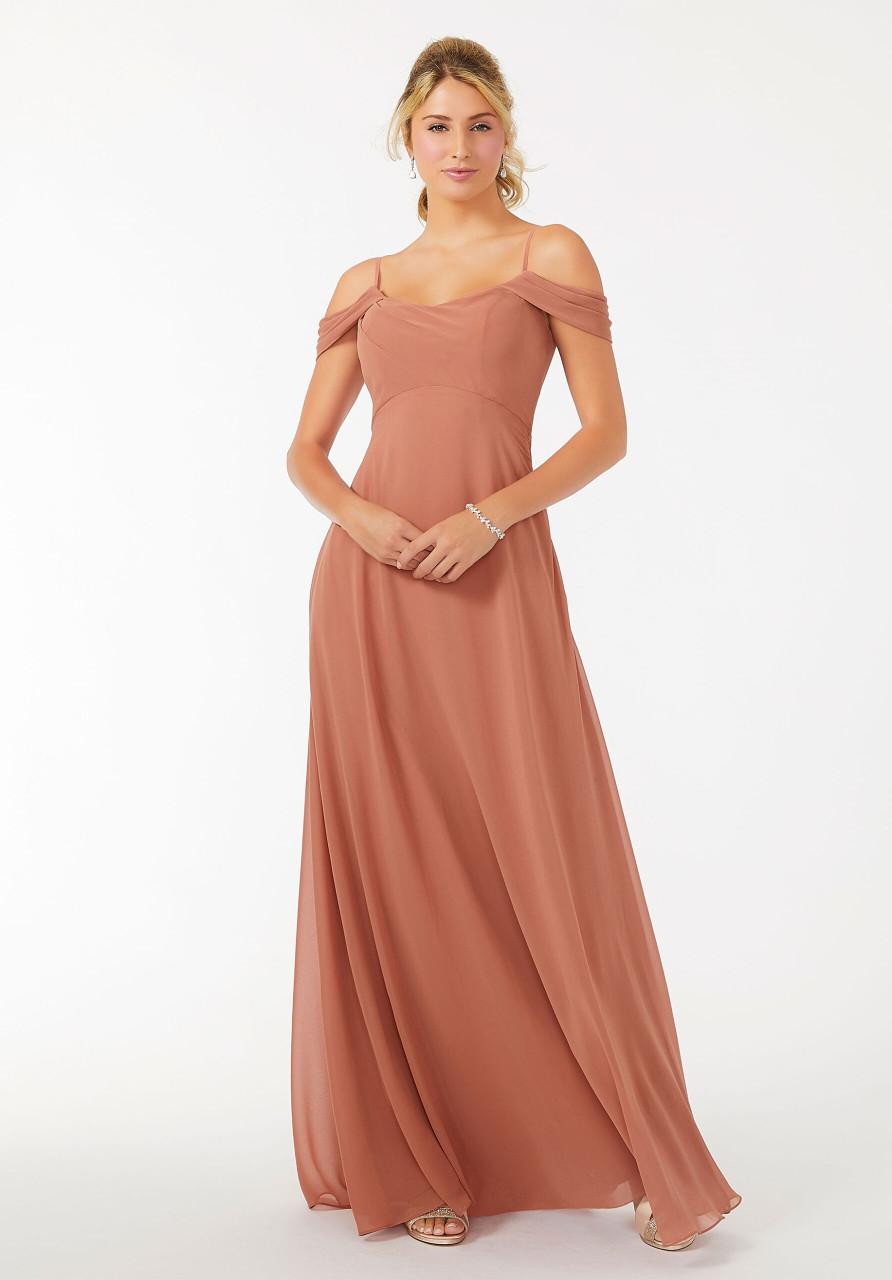 Morilee 21703 Draped Shoulder Chiffon Bridesmaid Dress