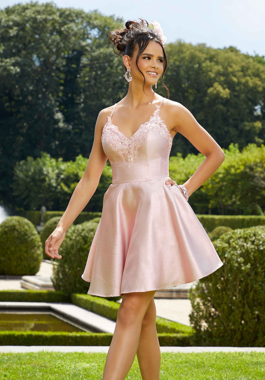 Morilee 9566 Metallic Organza Party Dress