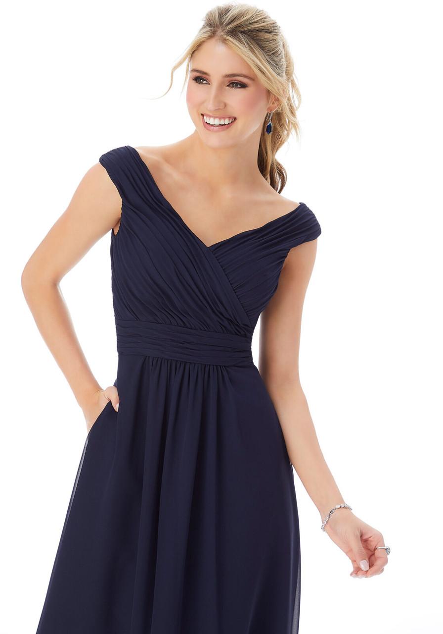 Morilee 13102 Off The Shoulder Chiffon Bridesmaid Dress