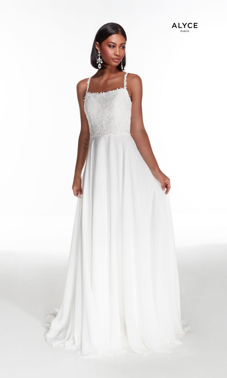 Alyce Paris 7018 Spaghetti Strap Lace Bodice Bridal Gown