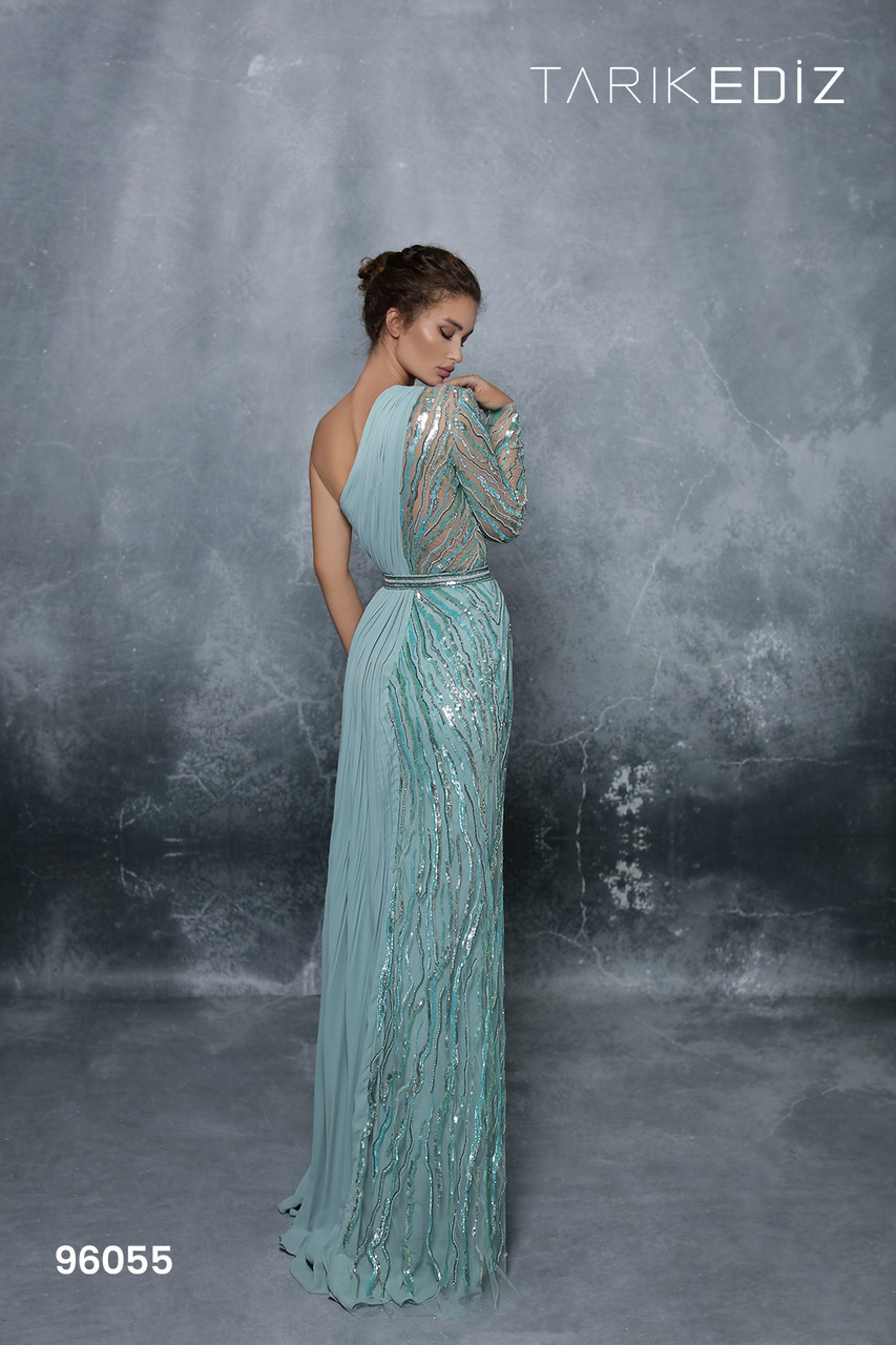 Tarik Ediz 96055 Embellished One Shoulder Sheath Long Gown