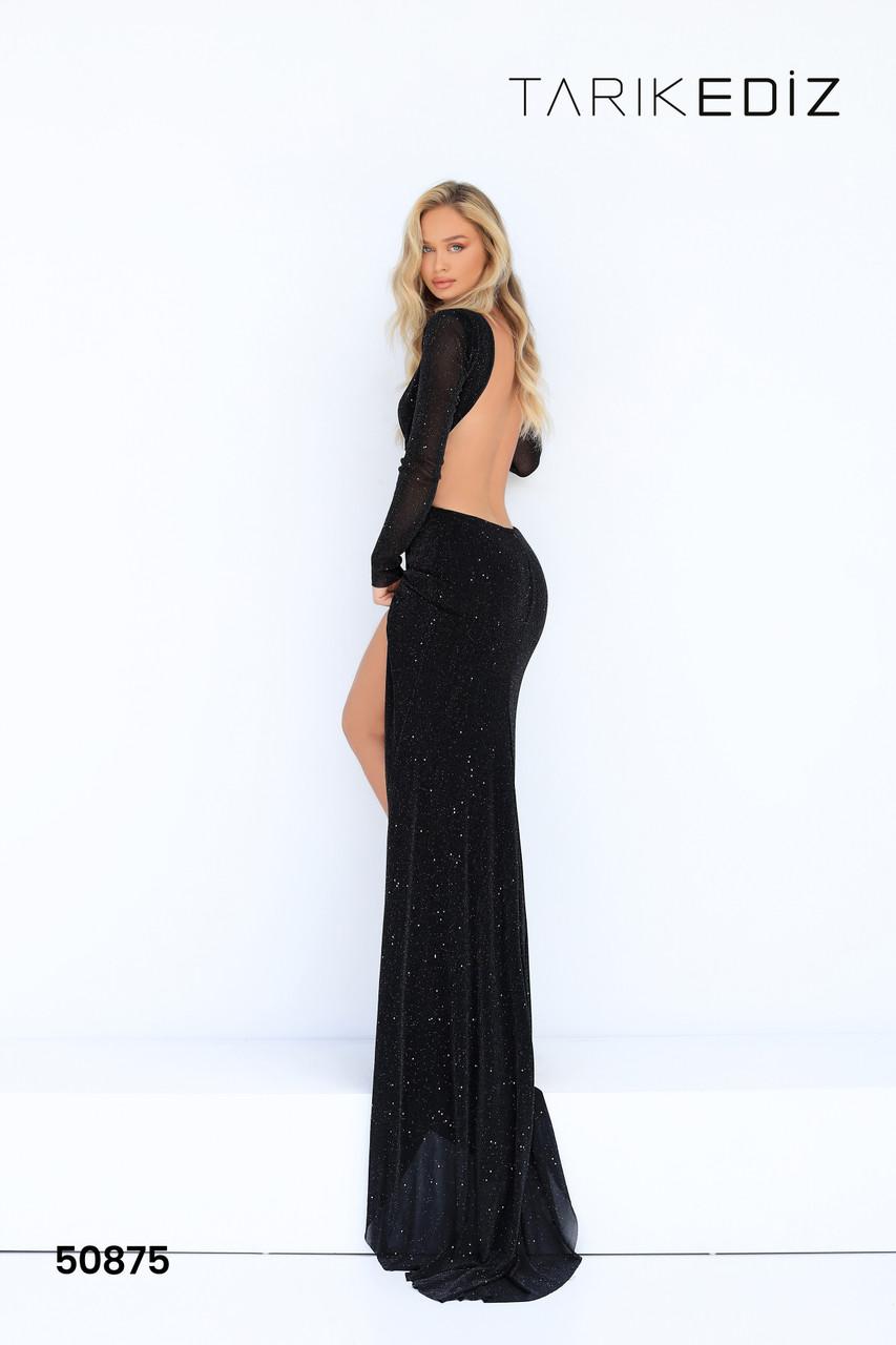 Tarik Ediz 50875 Long Sleeves Open Black Bateau Sheath Dress