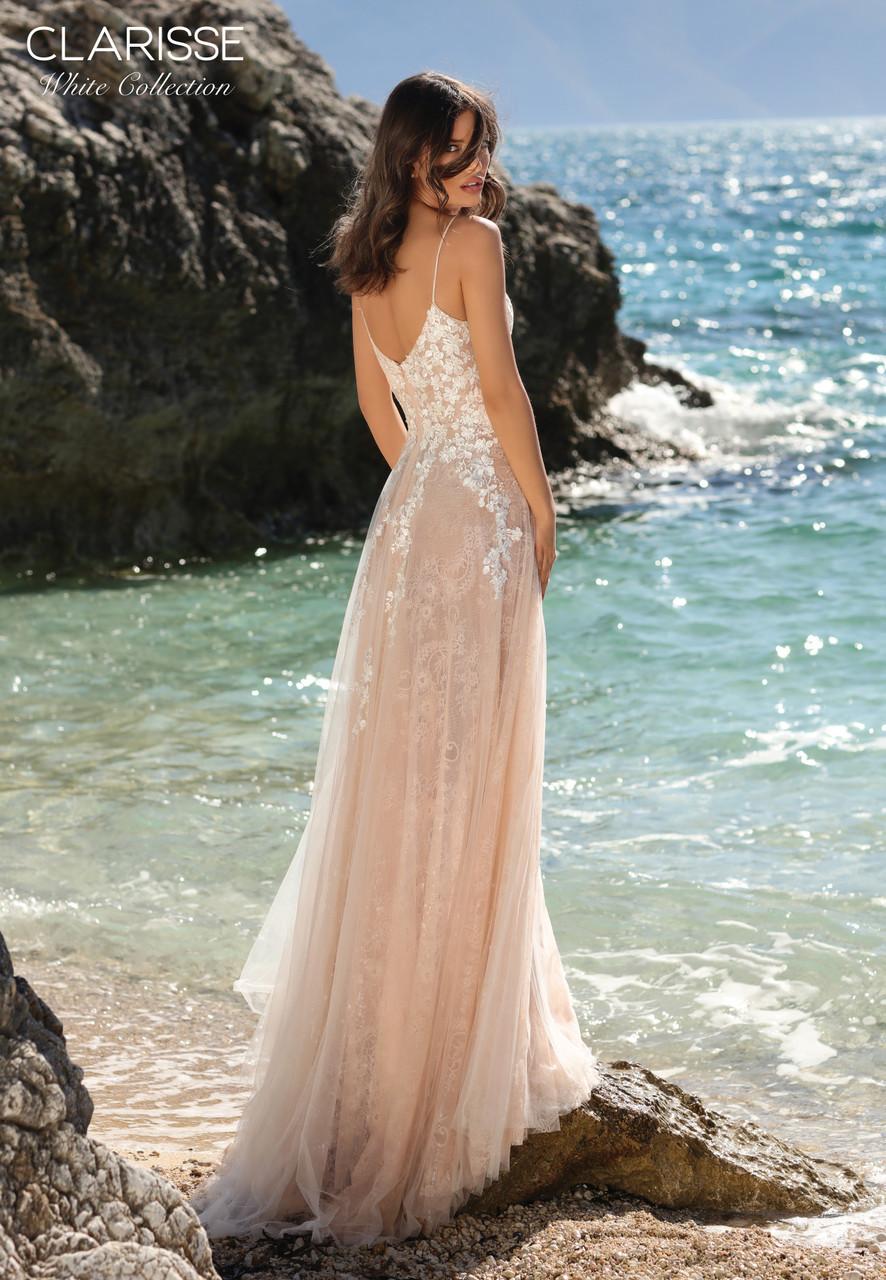 Clarisse 600203 Sexy V-neckline Floral Lace Applique Dress