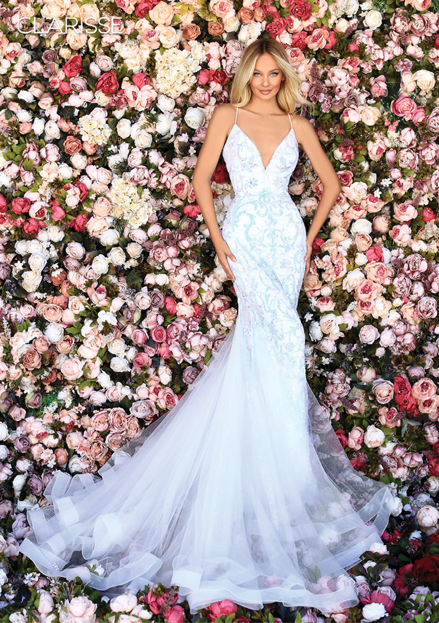 Clarisse 800227 Spaghetti Strap Sequined Mermaid Gown