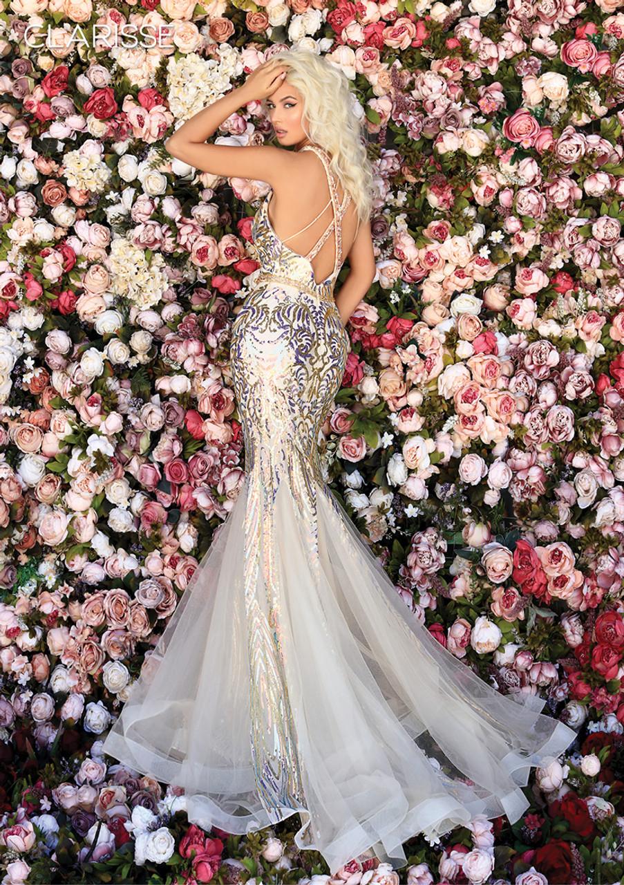 Clarisse 800221 Embellished Halter Neck Mermaid Dress