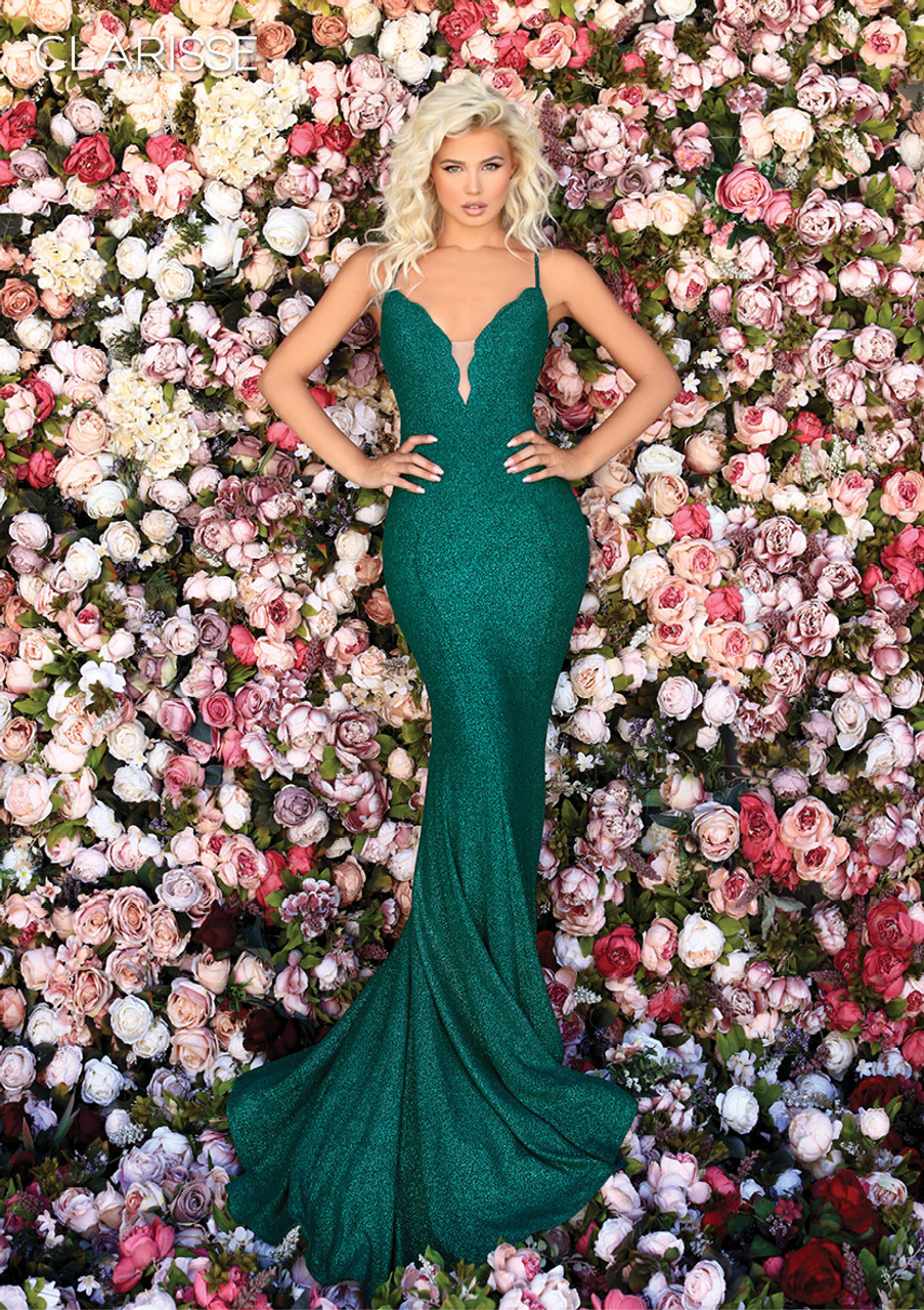 Clarisse 800257 V Neckline Glittery Silhouette Dress