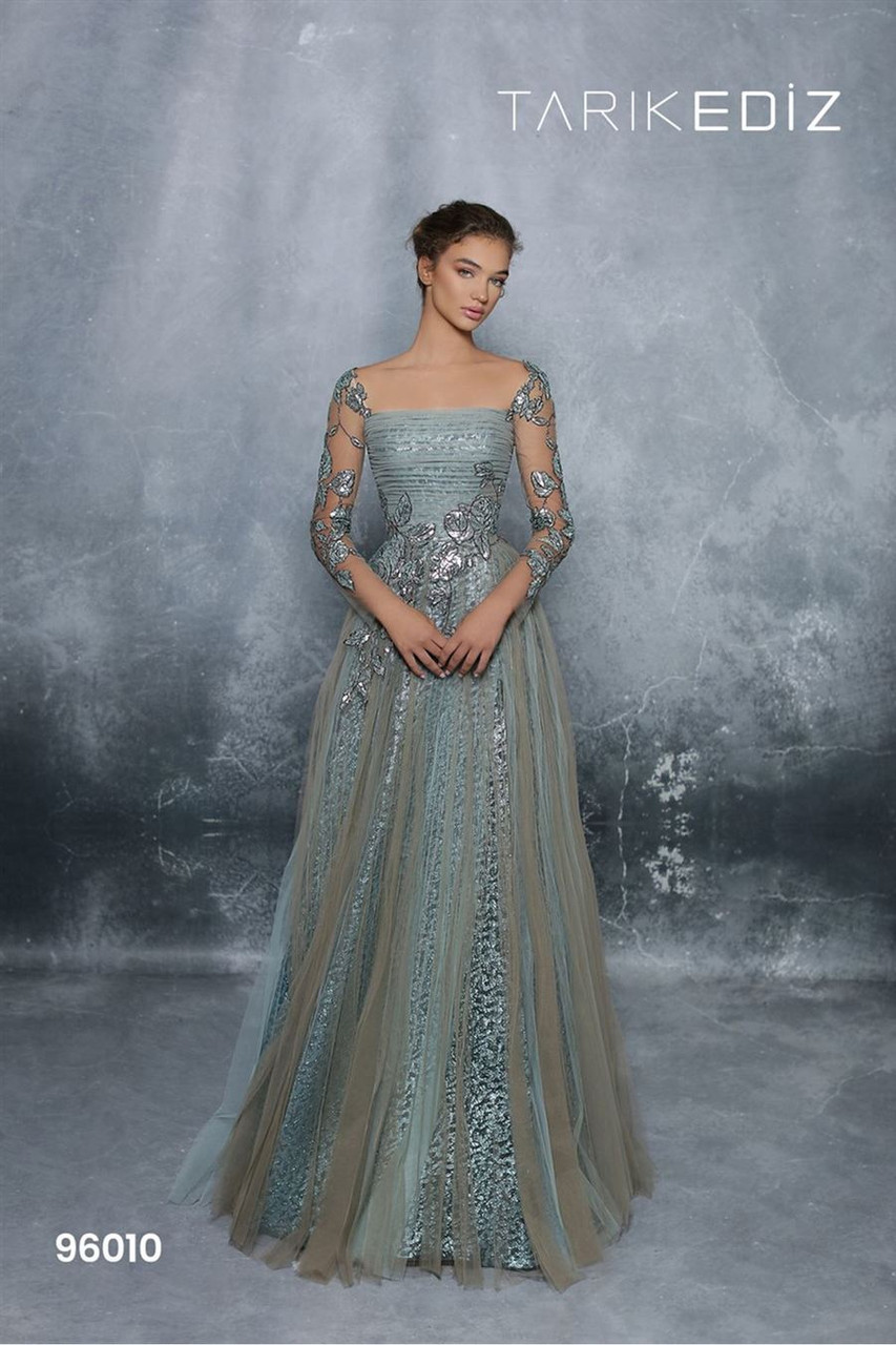 Tarik Ediz 96010 Long Sleeve Jacquard 4 A-line Long Gown