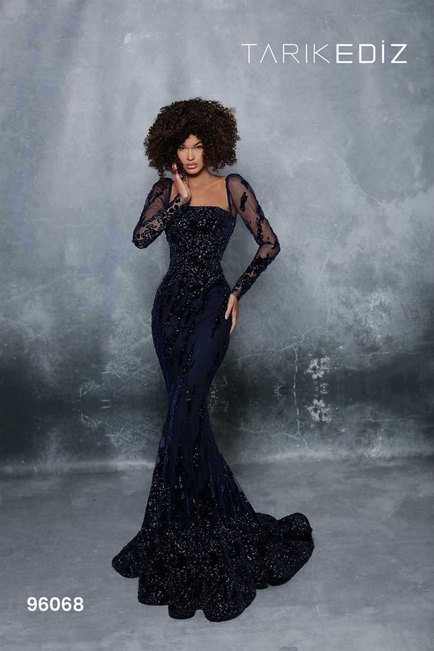 Tarik Ediz 96068 Long Sleeves Flock Print Tulle Long Gown