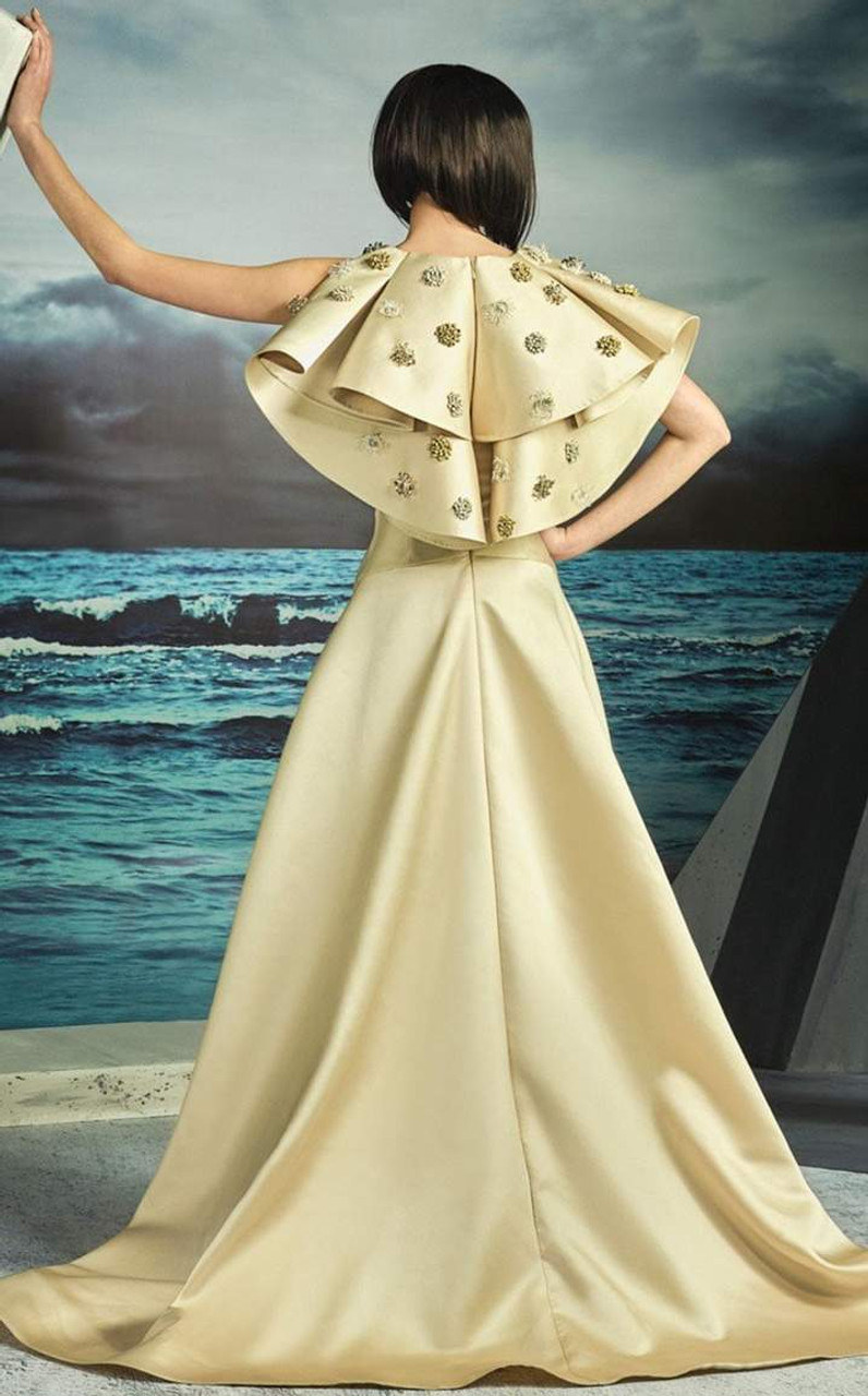 MNM Couture G0825 Sleeveless Illusion Plunging V Neck Gown