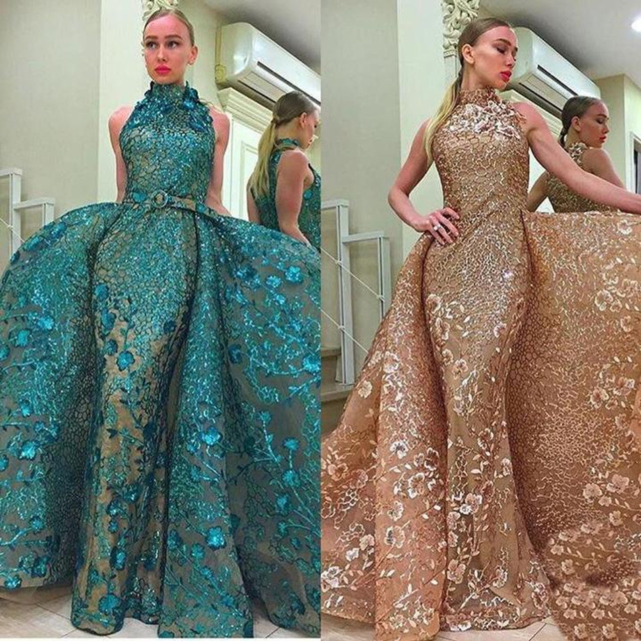 MNM Couture 2416 Sleeveless Sequin Overlay Train Long Gown