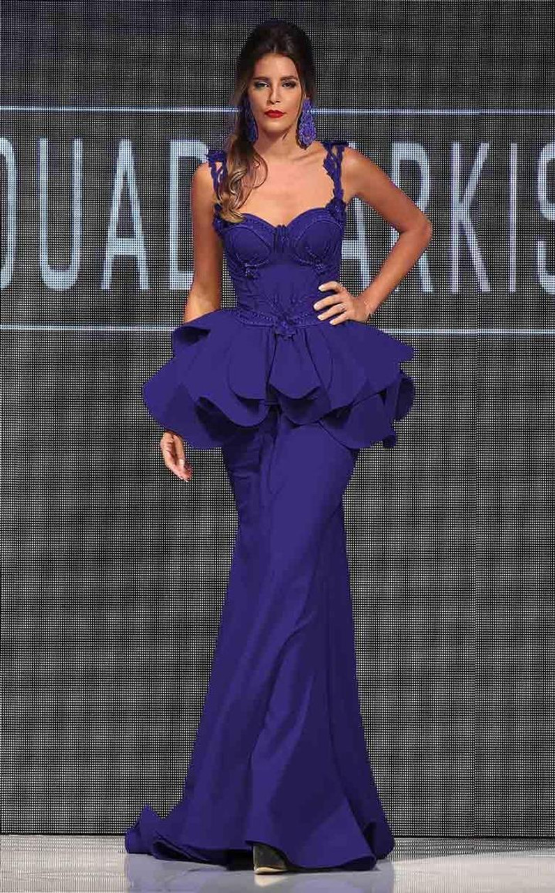 MNM Couture 2220A Ruffled Lace Sweetheart Trumpet Dress
