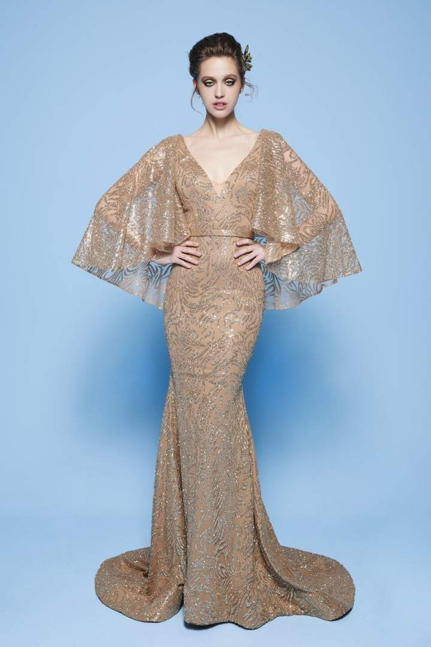 MNM Couture N0245 Cape Sleeves Sequin Embellished Long Gown