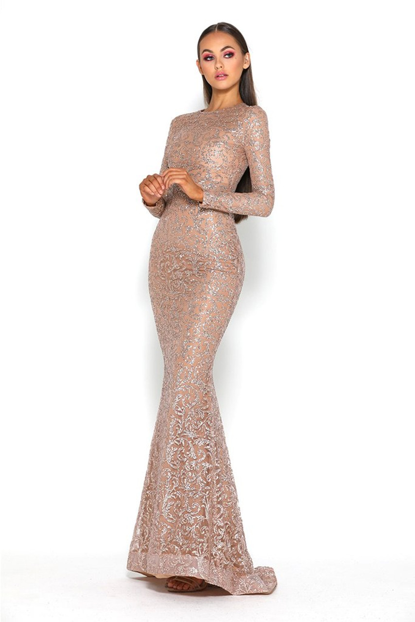 Portia and Scarlett 17022T Long Sleeve High Neck Corset Gown