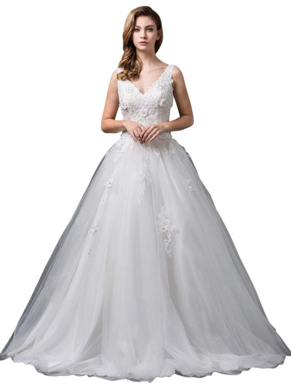 Dancing Queen 0079 Sleeveless Lace Plunging V-neck Ballgown