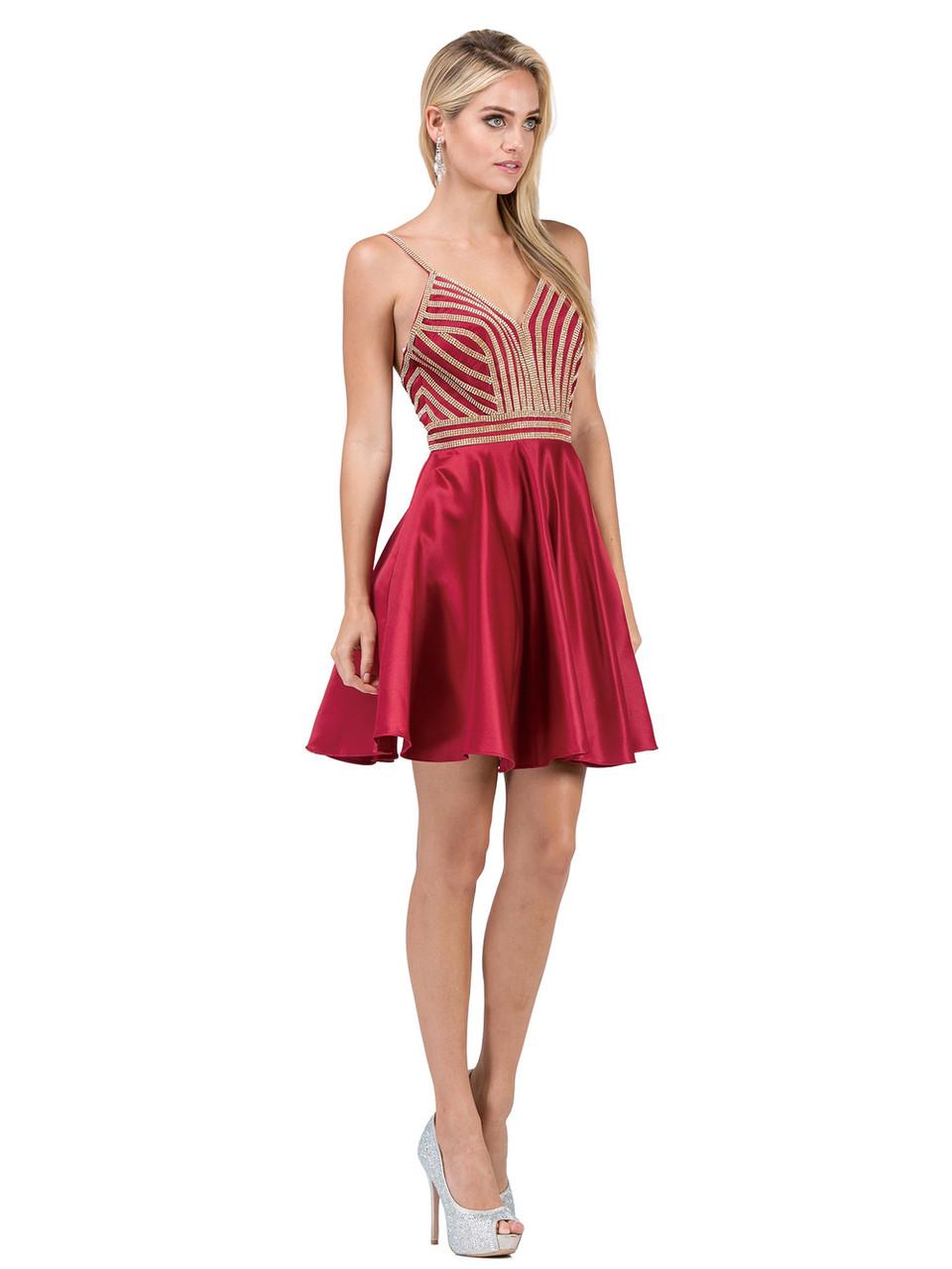 Dancing Queen 3009 Sleeveless Beaded V-neck A-line Dress