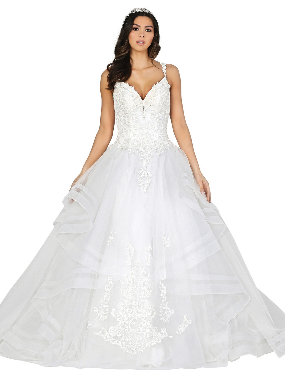 Dancing Queen 0152 Sleeveless Lace Plunging V-neck Ballgown