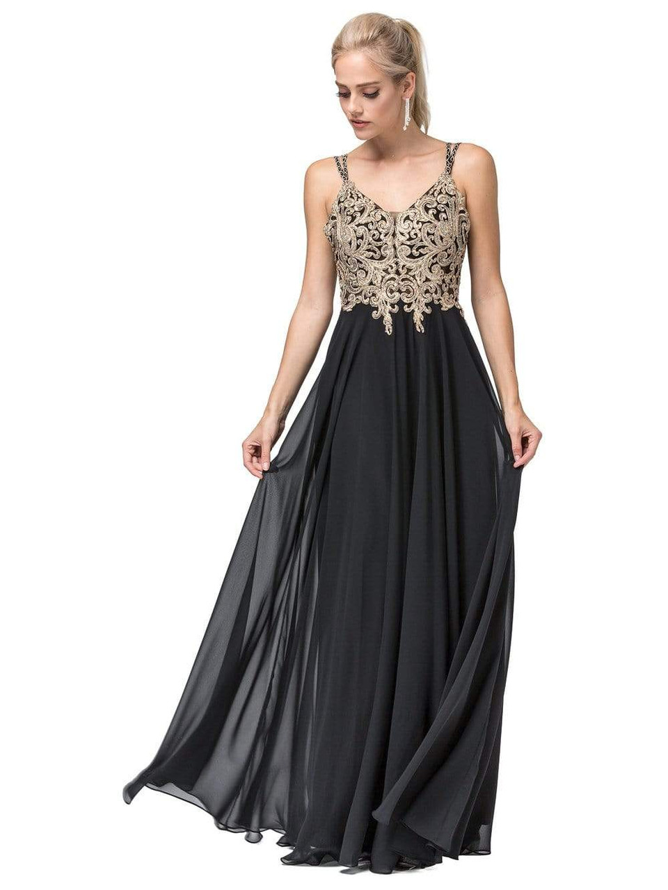 Dancing Queen 2890 Sleeveless Embroidered V-neck Dress