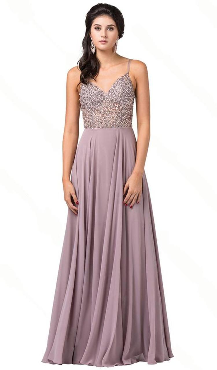 Dancing Queen 2648 Sleeveless Beaded V-neck A-line Dress