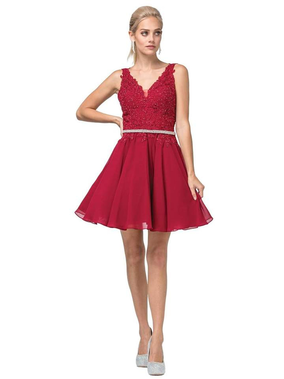 Dancing Queen 3011 Plunging V-neck Lace Bodice Short Dress