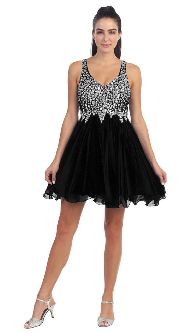 Dancing Queen 8997 Sleeveless Beaded V-neck Short Dress