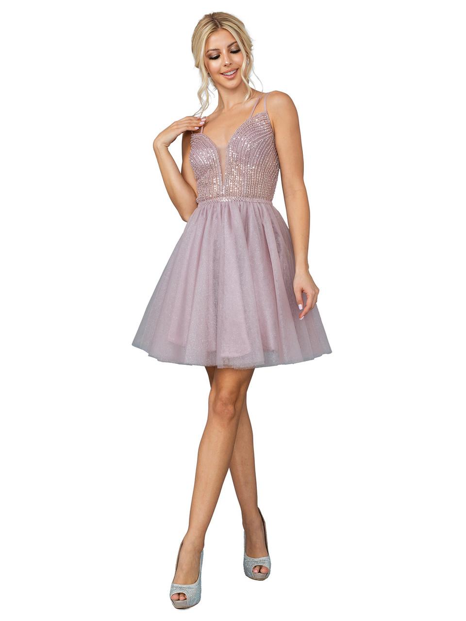 Dancing Queen 3268 Sleeveless Beaded V-neck Short Dress