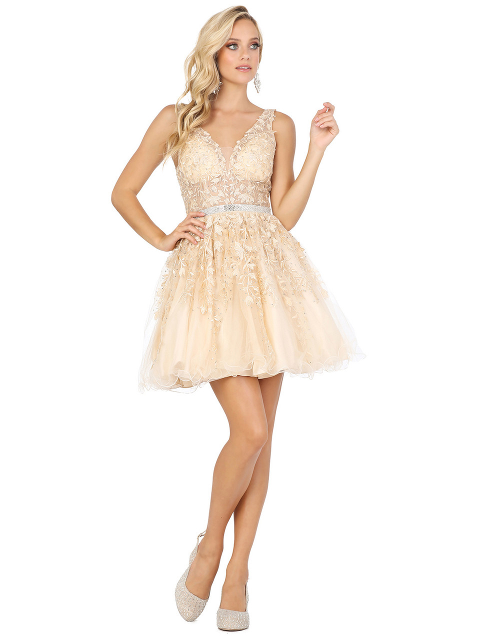 Dancing Queen 3233 Sleeveless Beaded Lace Low V Back Dress