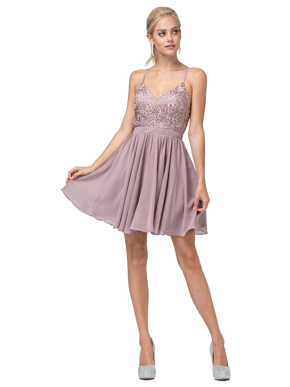 Dancing Queen 3089 Sleeveless Embroidered V-neck Dress