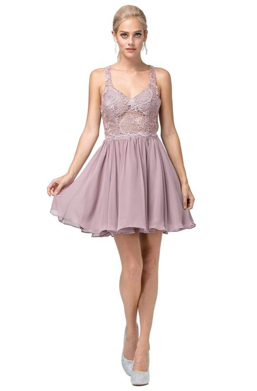 Dancing Queen 3044 Sleeveless Lace Embroidered V-neck Dress