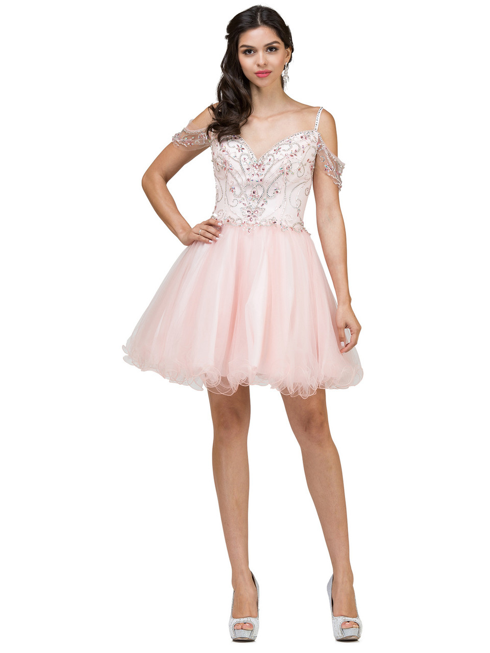 Dancing Queen 2023 Jeweled Off-shoulder Fit and Flare Dress
