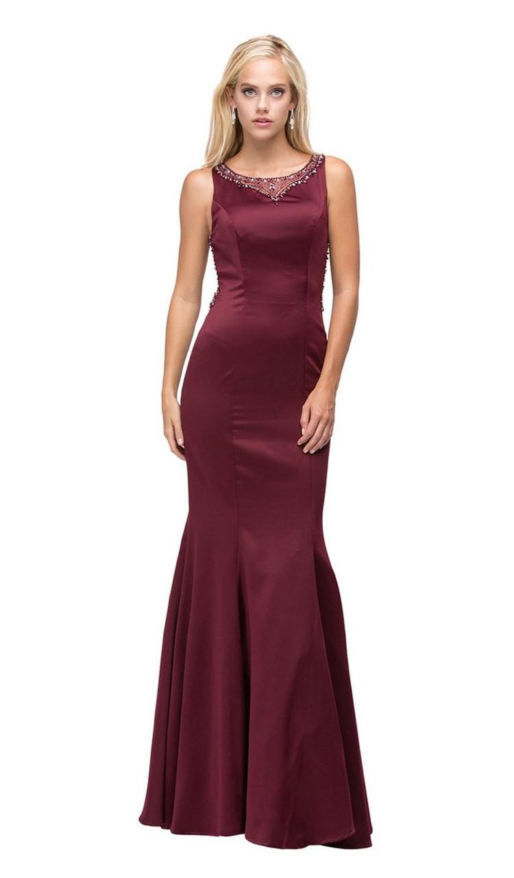 Dancing Queen 9699 Glamour Embellished Sheer Back Dress