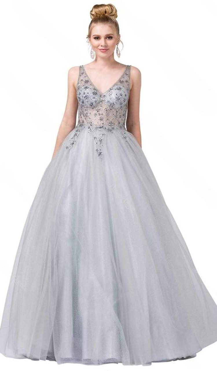 Dancing Queen 2816 Sleeveless Beaded V-neck Long Dress