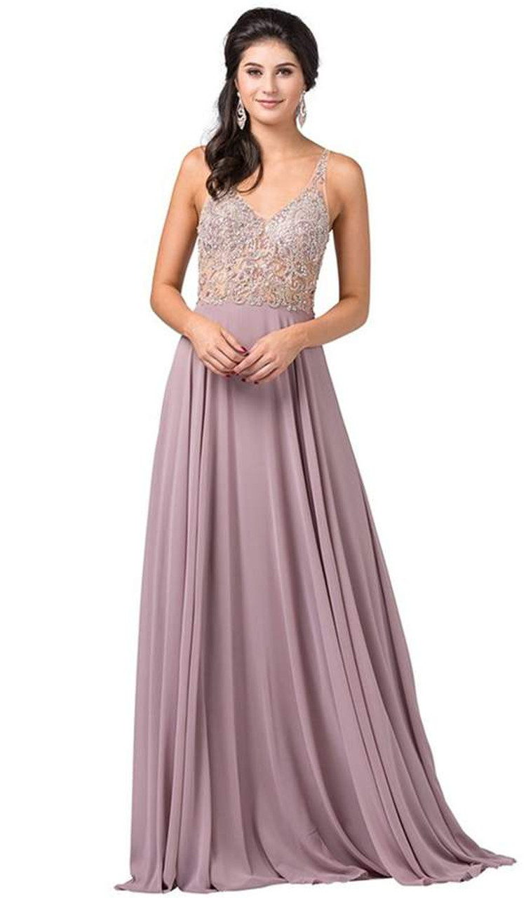 Dancing Queen 2513 Beaded Embellished Illusion Bodice Gown