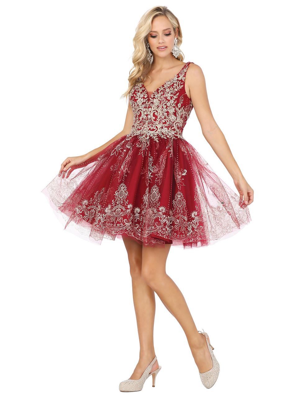 Dancing Queen 3237 Sleeveless V Neck Lace Applique Dress