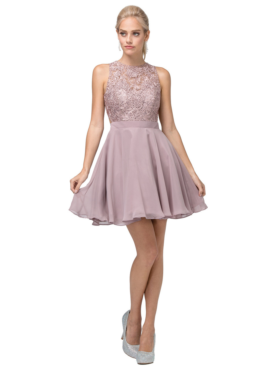 Dancing Queen 3012 Jeweled Floral Lace Bodice Short Dress