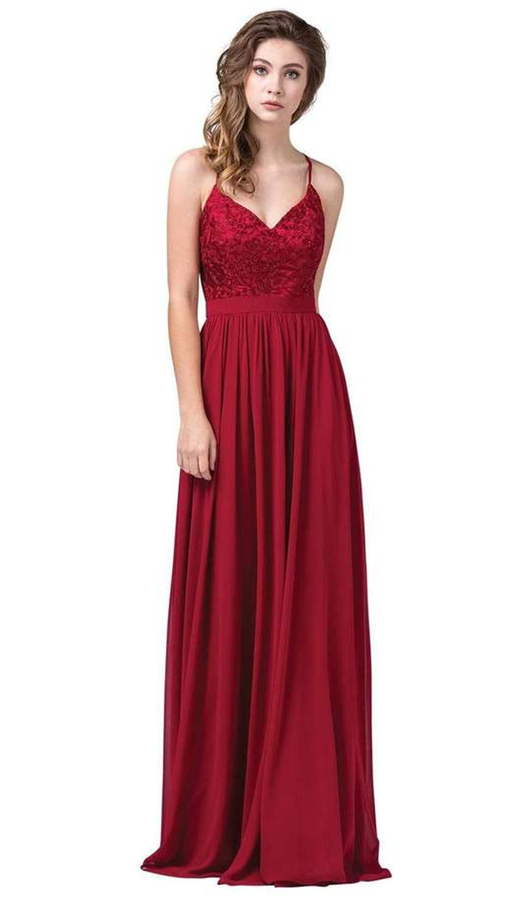 Dancing Queen 2571 Sleeveless Embroidered V-neck Long Dress