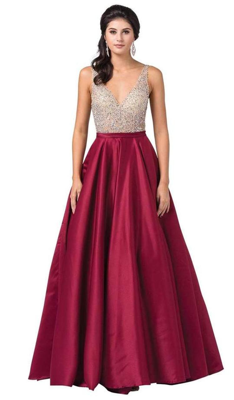 Dancing Queen 2568 Embellished Plunging V-neck Ballgown