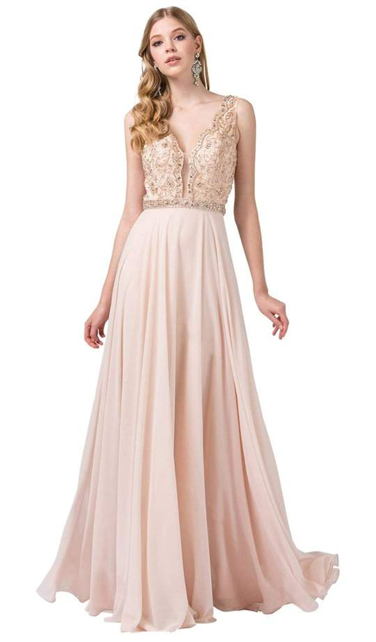 Dancing Queen 2552 Scallop-trimmed Plunging V-neck Gown