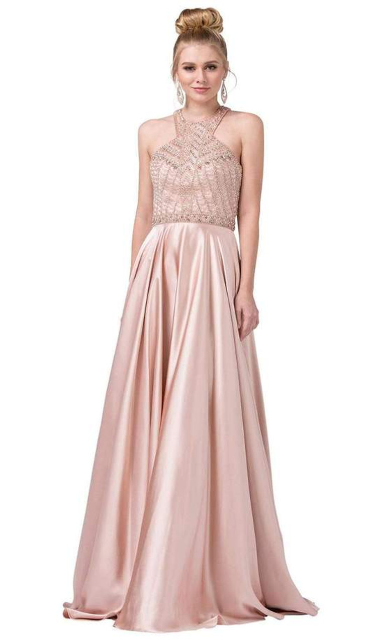 Dancing Queen 2518 Sleeveless Embellished Halter Long Gown