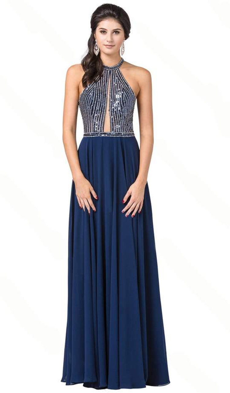 Dancing Queen 2498 Sleeveless Sequined Halter A-line Gown