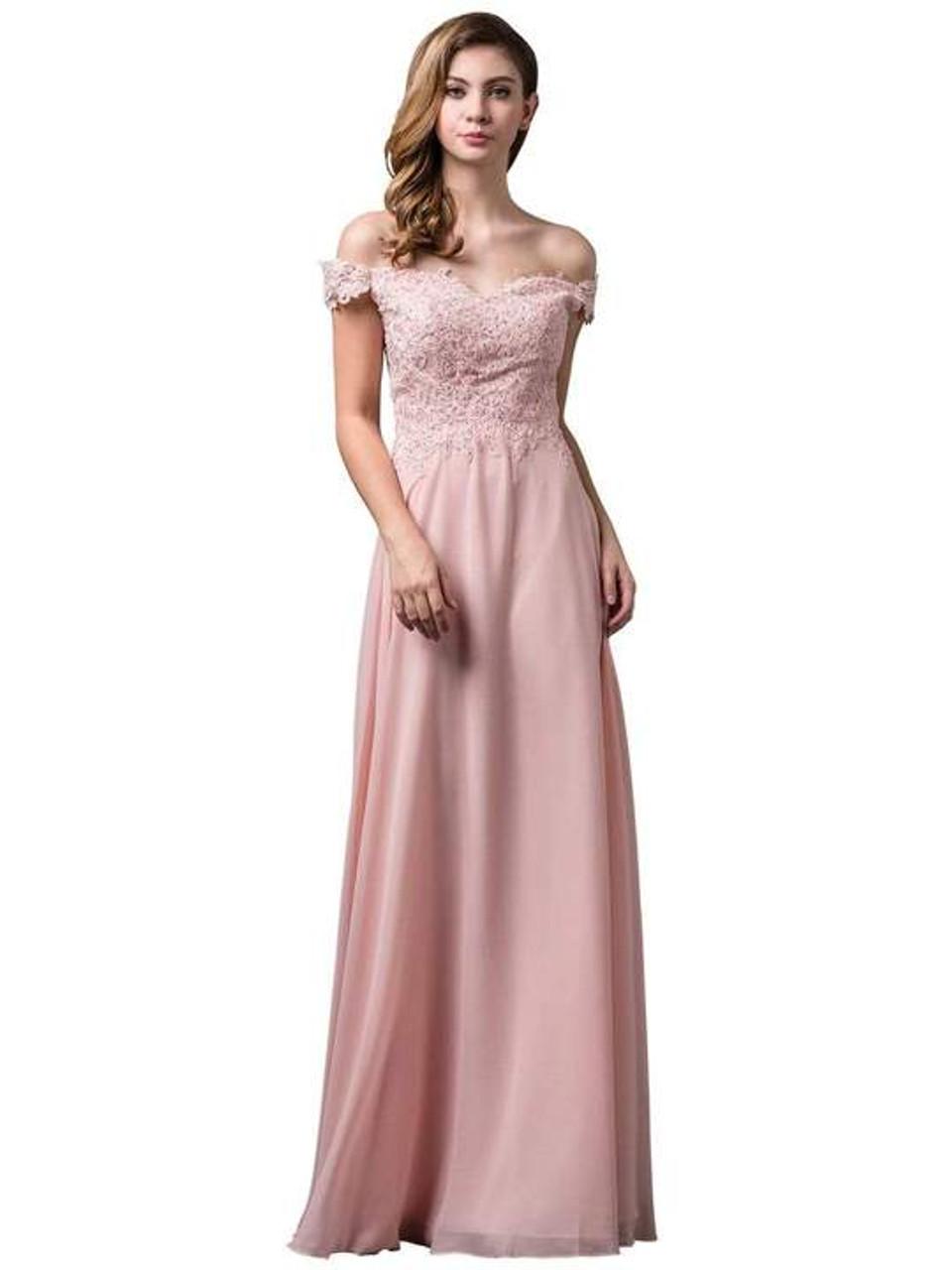 Dancing Queen 2492 Off Shoulder Lace Applique Long Dress