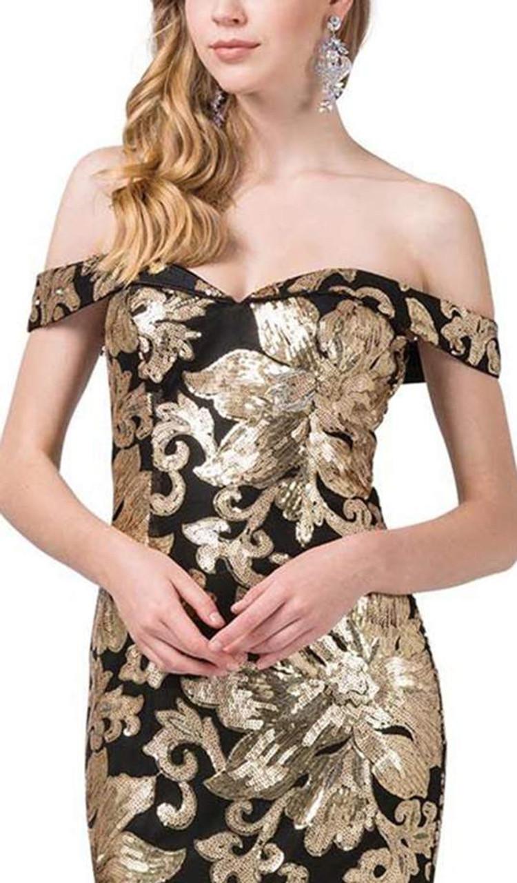 Dancing Queen 2481 Sequined Off-shoulder Trumpet Gown