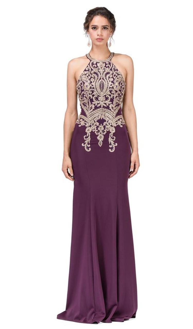 Dancing Queen 2457 Sleeveless Applique Halter Trumpet Dress