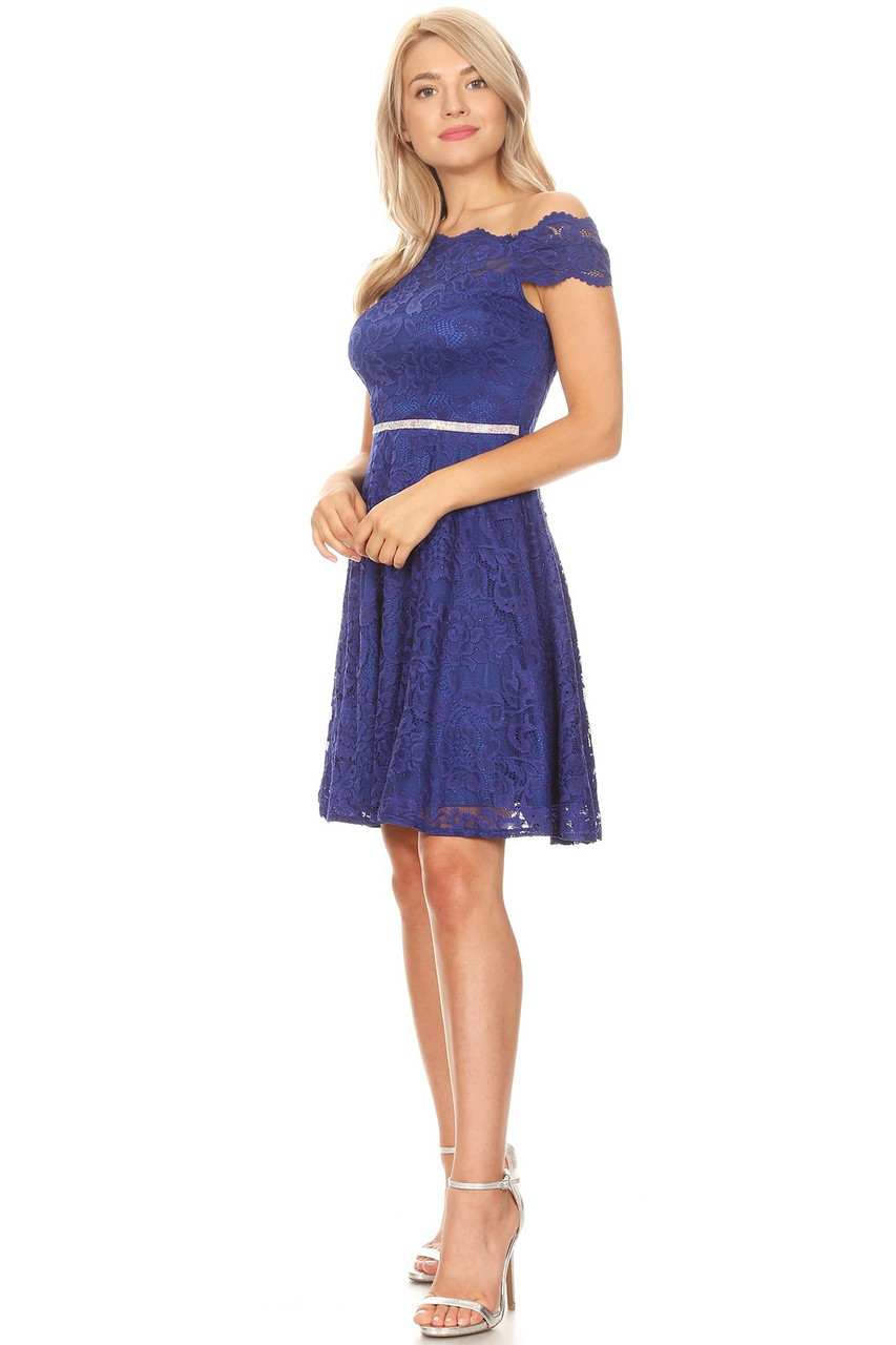 Celavie 6457-S Beaded Waistband Off Shoulder Lace Dress