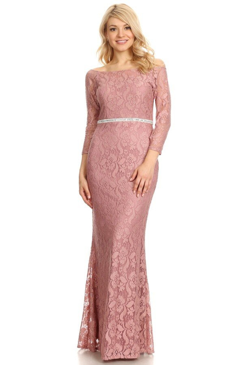 Celavie 6343-L Long Sleeves Lace Off Shoulder Long Dress