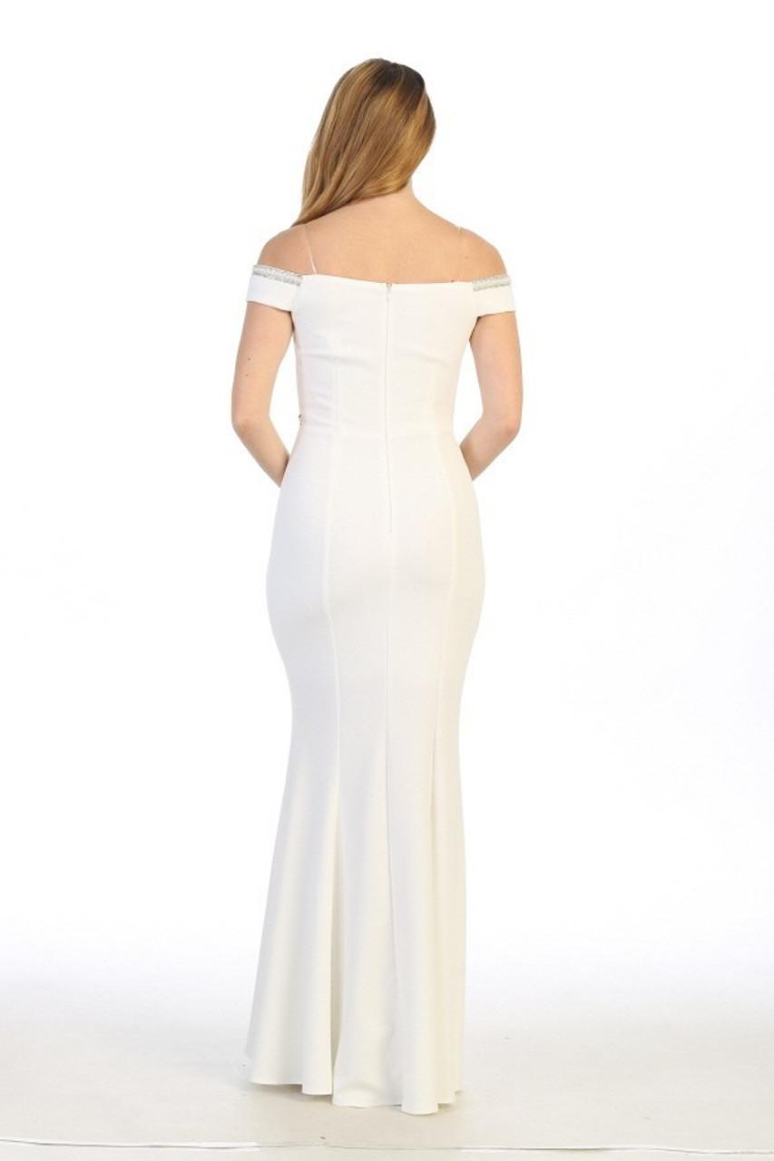Celavie 6348 Beaded Off Shoulder Mermaid Long Dress