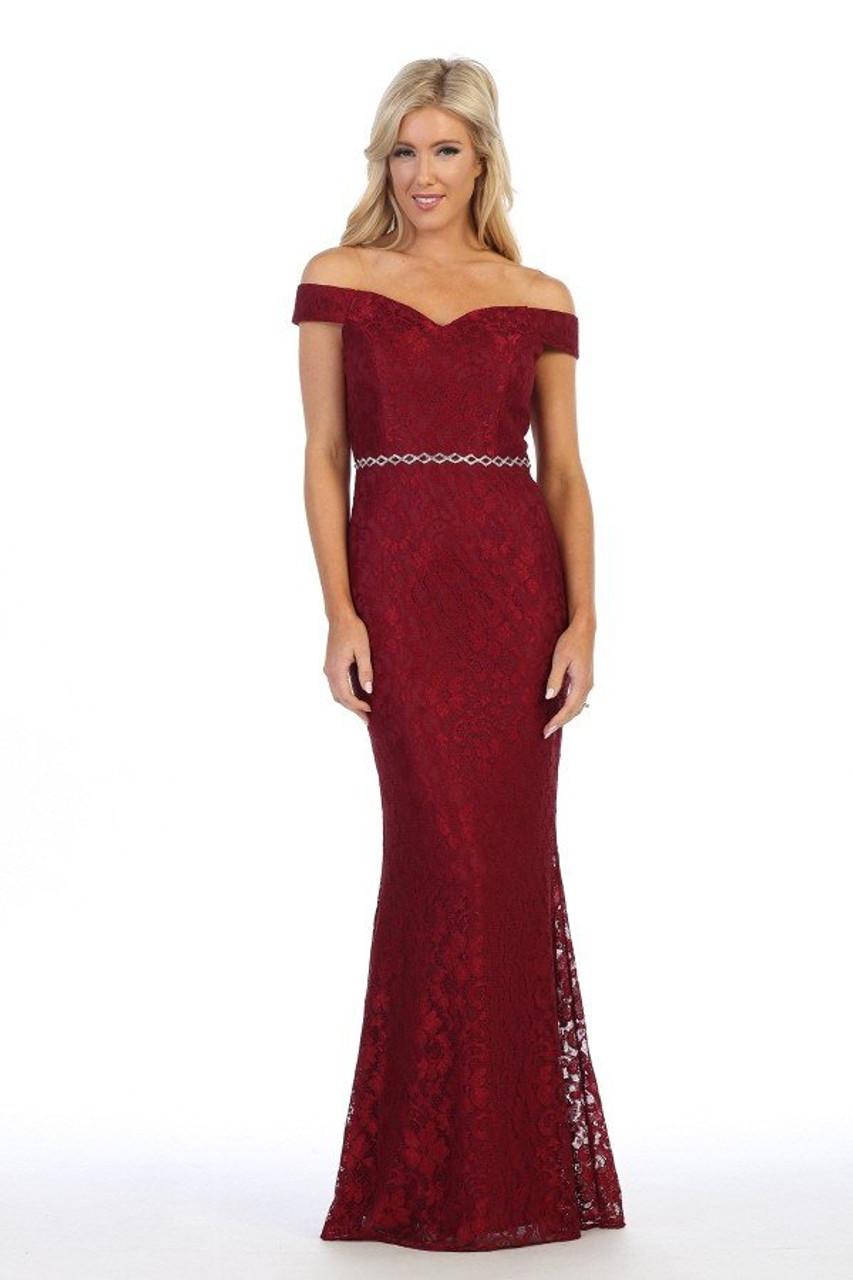 Celavie 6409 Off the Shoulder Lace Mermaid Long Dress