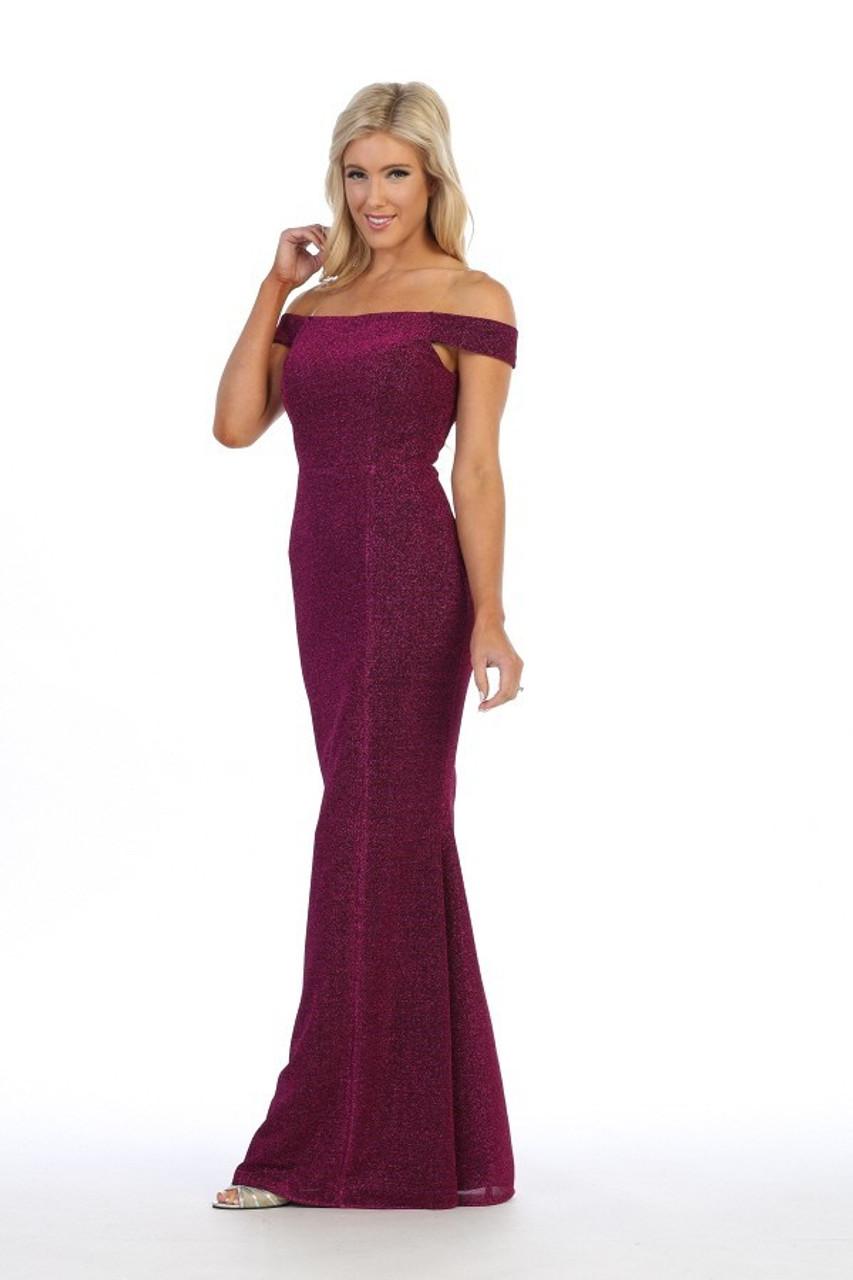 Celavie 6402 Off Shoulder Metallic Glitter Long Dress