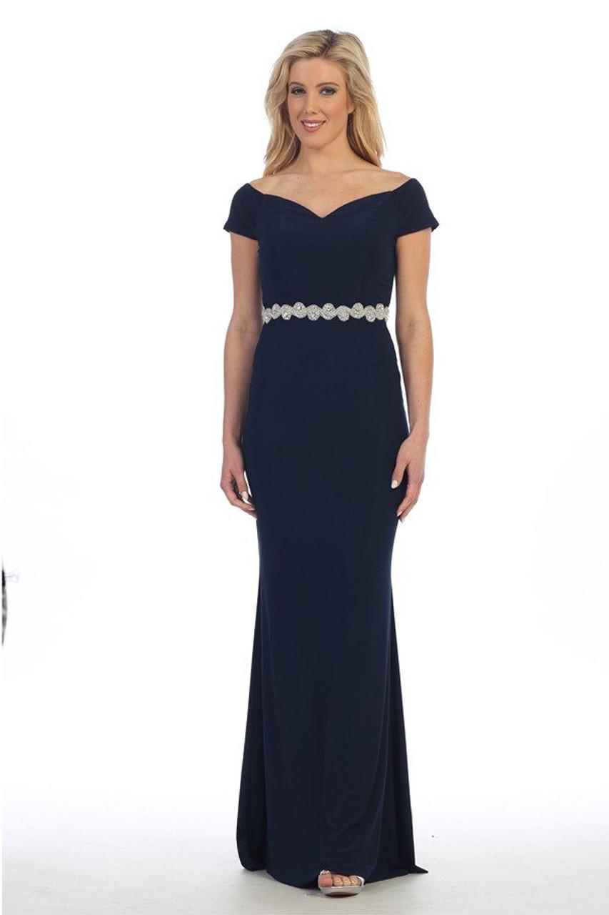Celavie 6292-L Short Sleeves Solid Cold Shoulder Long Dress