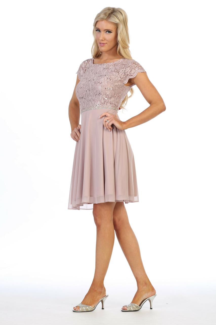 Celavie 6394-S Round Neck Short Sleeves Short Lace Dress