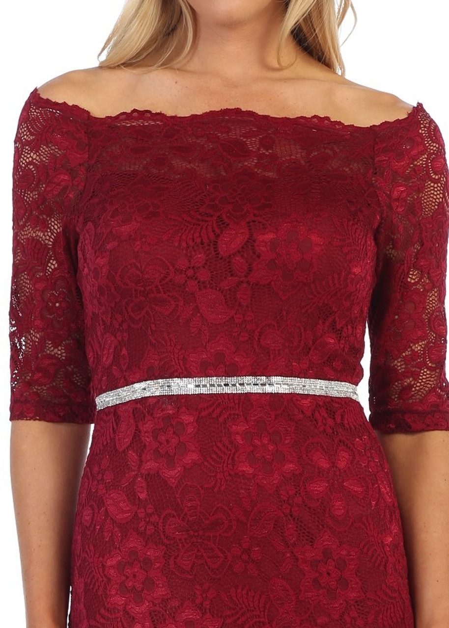 Celavie 6390-S Beaded Full Lace Off Shoulder Short Dress
